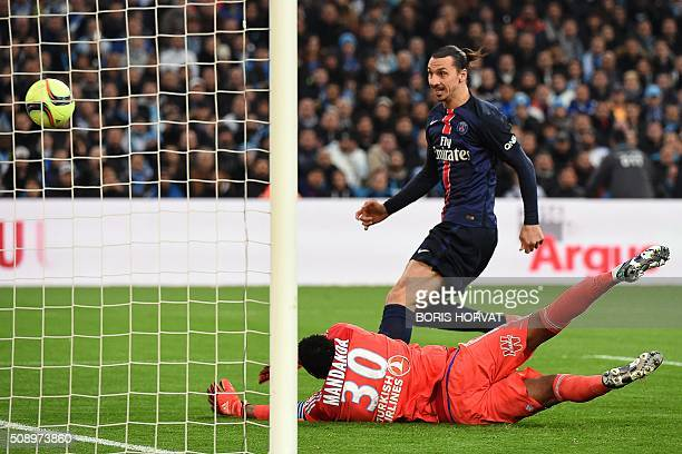 ParisSaintGermain's Swedish forward Zlatan Ibrahimovic scores a goal during the French L1 football match between Marseille and ParisSaintGermain on...