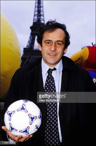 ParisTour Eiffel Michel Platini With Soccer World Cup Ball On February 28th 1998 In ParisFrance