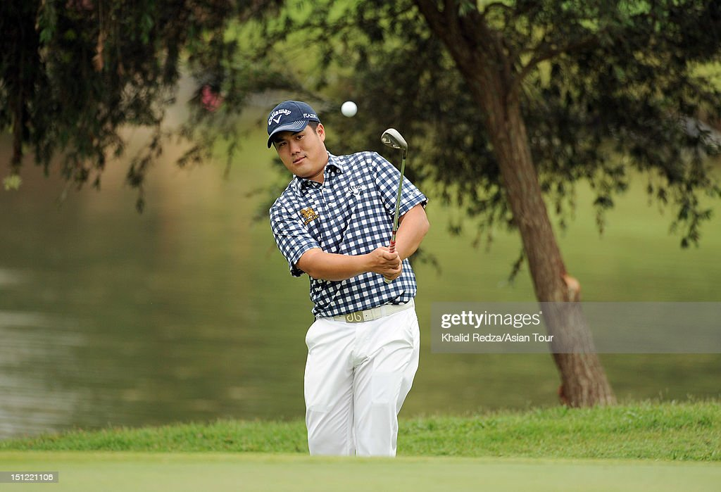 Pariya Junhasavasdikul of Thailand hits a shot during previews ahead of the Worldwide Holdings Selangor Masters at Kota Permai Golf and Country Club on September 4, 2012 in Shah Alam, Selangor, Malaysia.