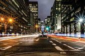 Long exposure of Park Avenue looking toward the Met Life building.