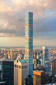 Aerial view of 432 Park Avenue construction, the tallest residential building in the world, in New york City