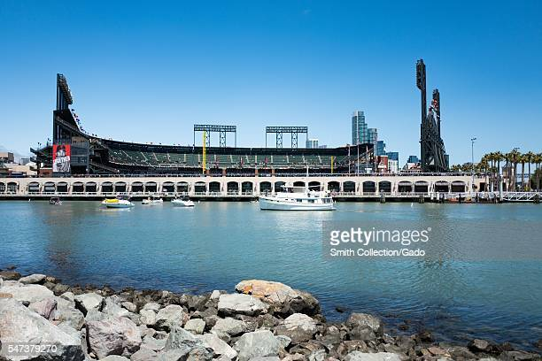 ATT Park baseball stadium home of the San Francisco Giants baseball team viewed from across McCovey Cove San Francisco California 2016