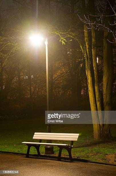 Park bench at night, lantern, spa gardens, park, Wiesbaden, Hesse, Germany