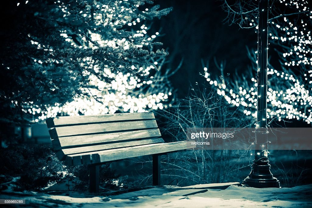 Park Bench in Winter : Stock Photo