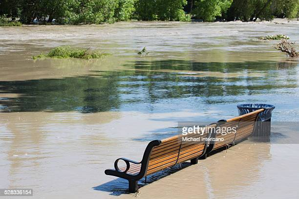 A Park Bench Sits In High Water After Flooding; Calgary, Alberta, Canada