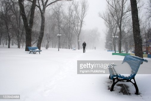 Park bench under the snow