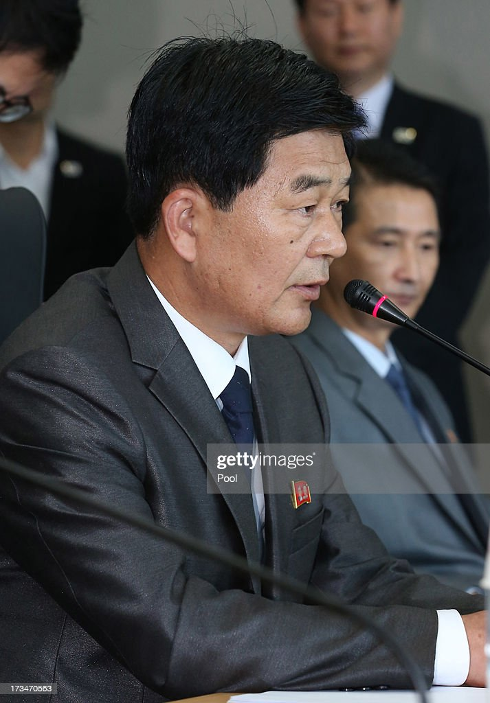Park Chol-Su, head of North Korea's working-level delegation talks with South Korean delegations during a meeting at Kaesong Industrial District Management Committee on July 15, 2013 in Kaesong, North Korea. Talks continue today after two previous meetings failed to come to a resolution over resuming operations at the Kaesong Joint Industrial Park 10 kilometres north of the border. North Korea withdrew over 50,00 of it's staff from the factories owned by Seoul in April of this year, and South Korea removed managers in May, during the height of tensions between the two nations.