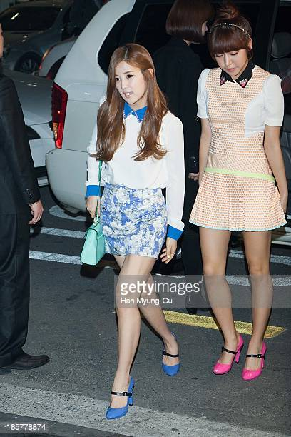 Park ChoRong and Kim NamJoo of South Korean girl group A Pink pose for media the 'United Nude' flagship store opening at United Nude Gangnam Store on...