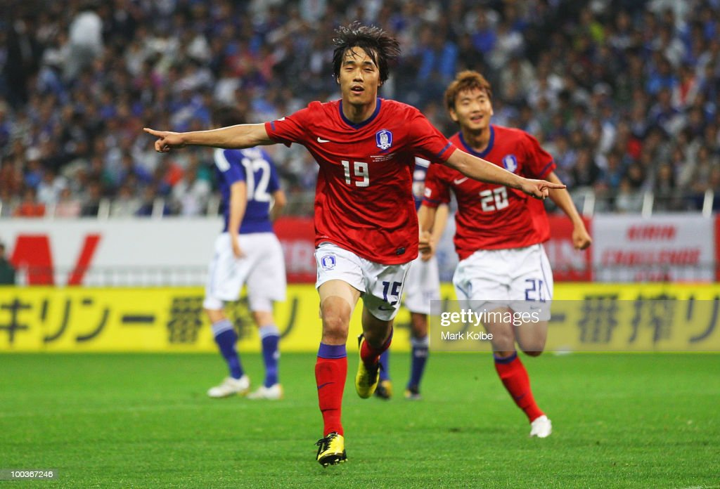 Park Chu Young of South Korea celebrates after scoring a goal during the international friendly match between Japan and South Korea at Saitama Stadium on May 24, 2010 in Saitama, Japan.