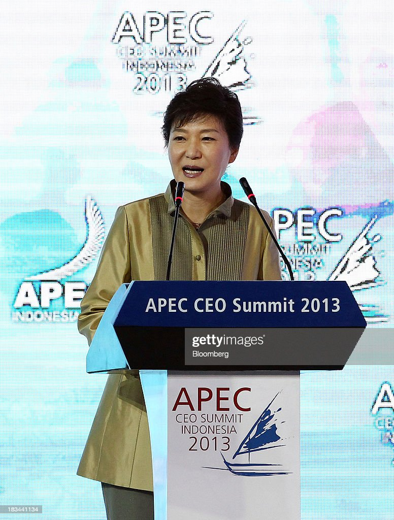 Park Geun Hye, president of South Korea, speaks during a panel discussion at the Asia-Pacific Economic Cooperation (APEC) CEO Summit in Nusa Dua, Bali, Indonesia, on Sunday, Oct. 6, 2013. Global growth will probably be slower and less balanced than desired, ministers from the APEC member economies said as they agreed to refrain from raising new barriers to trade and investment. Photographer: SeongJoon Cho/Bloomberg via Getty Images