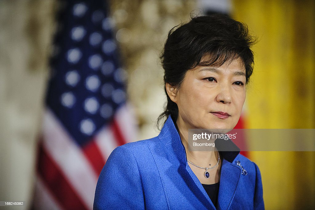 Park Geun Hye, president of South Korea, speaks during a press conference with U.S. President Barack Obama, unseen, in the East Room of the White House in Washington, D.C., U.S., on Tuesday, May 7, 2013. Obama and Park are seeking to demonstrate a solid front in the face of threats from North Korea and broader tensions in the region. Photographer: Pete Marovich/Bloomberg via Getty Images