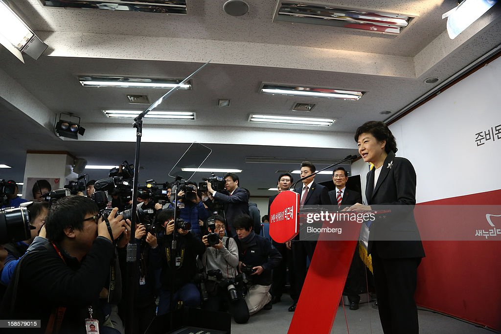 Park Geun Hye, South Korea's president-elect, speaks during a news conference at the New Frontier Party headquarters in Seoul, South Korea, on Thursday, Dec. 20, 2012. Park, 60, defeated main opposition nominee Moon Jae In, 51.6 percent to 48 percent, the biggest margin of victory in 25 years. Photographer: SeongJoon Cho/Bloomberg via Getty Images