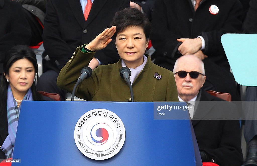 Park Geun-Hye, South Korea's president, salutes during her inauguration ceremony in the National Assembly on February 25, 2013 in Seoul, South Korea. Park is sworn in as the first female president of South Korea.