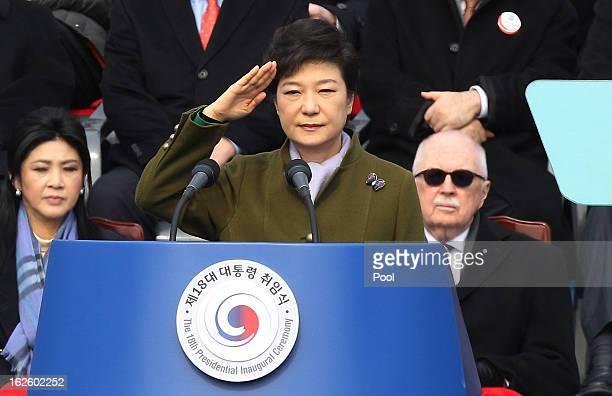 Park GeunHye South Korea's president salutes during her inauguration ceremony in the National Assembly on February 25 2013 in Seoul South Korea Park...
