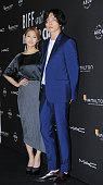 Park GyuLee of KARA and Kim JaeWook pose for photographs during the BIFF with Marie Claire Asia Star Awards at Haeundae Grand Hotel on October 3 2015...