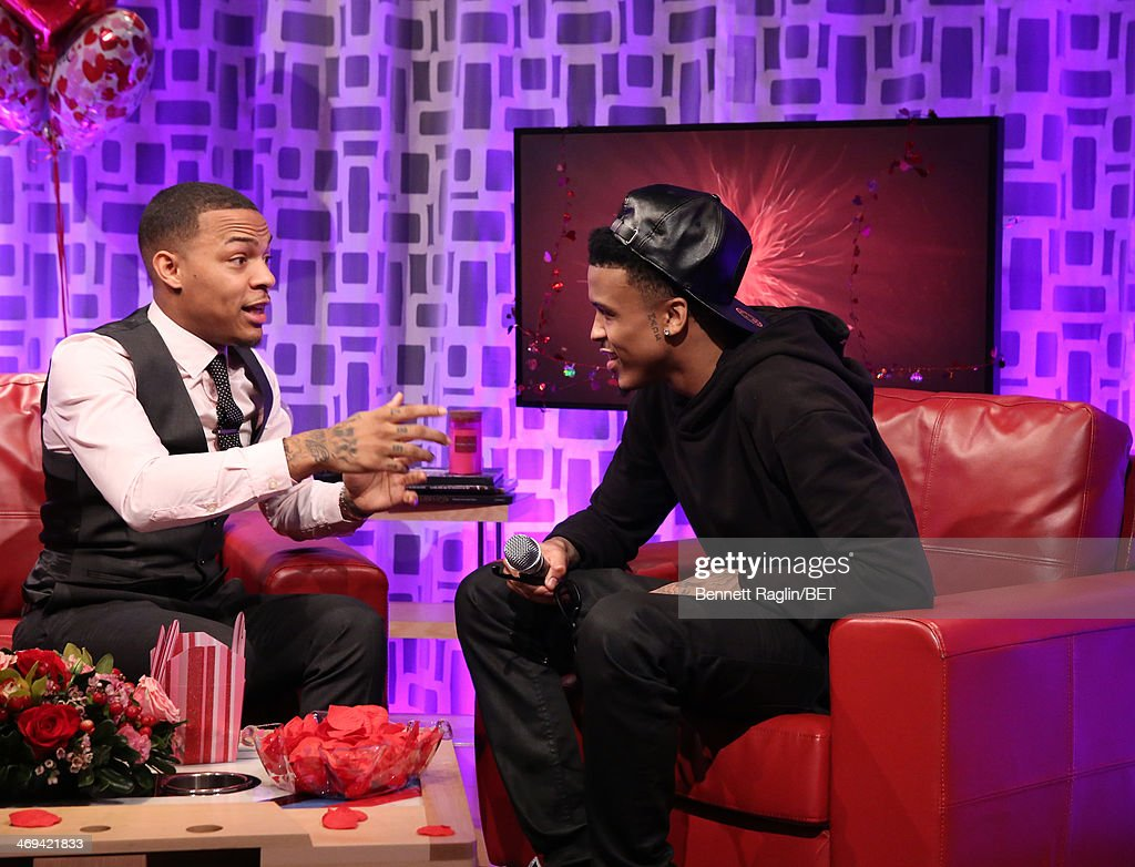 106 & Park host Bow Wow and recording artist August Alsina attend 106 & Park at BET studio on February 11, 2014 in New York City.