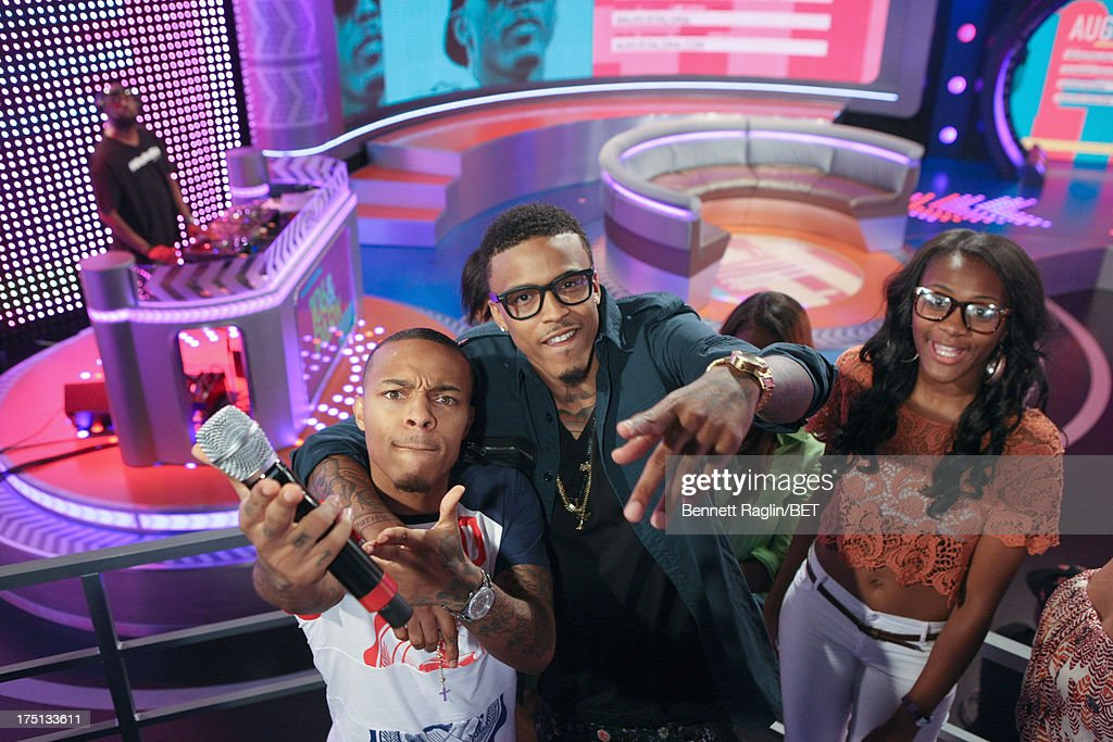 106 & Park host <a gi-track='captionPersonalityLinkClicked' href=/galleries/search?phrase=Bow+Wow+-+Rapper&family=editorial&specificpeople=211211 ng-click='$event.stopPropagation()'>Bow Wow</a> and recording artist August Alsina attend BET's 106 & Park at BET Studios on July 31, 2013 in New York City.