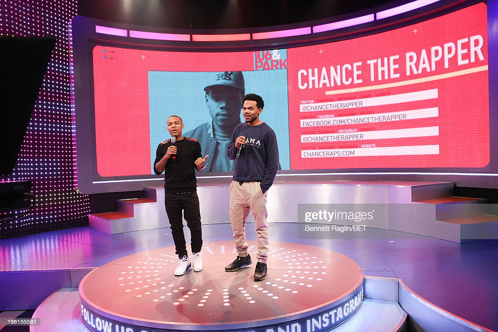 106 & Park host <a gi-track='captionPersonalityLinkClicked' href=/galleries/search?phrase=Bow+Wow+-+Rapper&family=editorial&specificpeople=211211 ng-click='$event.stopPropagation()'>Bow Wow</a> and recording artist Chance the Rapper attend 106 & Park at 106 & Park studio on October 28, 2013 in New York City.