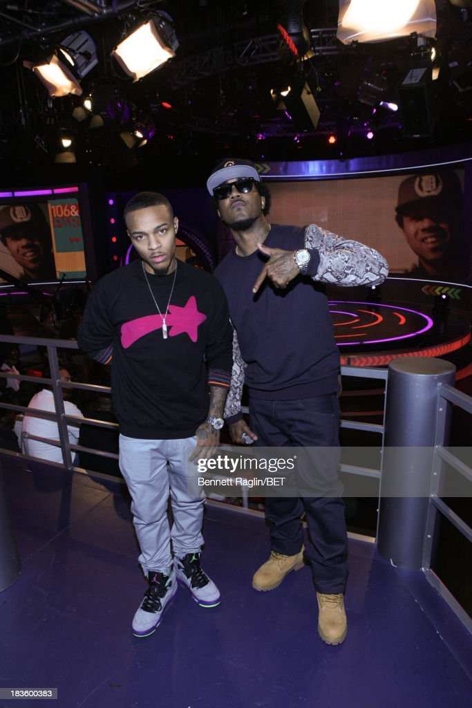 106 & Park host <a gi-track='captionPersonalityLinkClicked' href=/galleries/search?phrase=Bow+Wow+-+Rapper&family=editorial&specificpeople=211211 ng-click='$event.stopPropagation()'>Bow Wow</a> and recording artist Problem attend 106 & Park at 106 & Park studio on October 7, 2013 in New York City.
