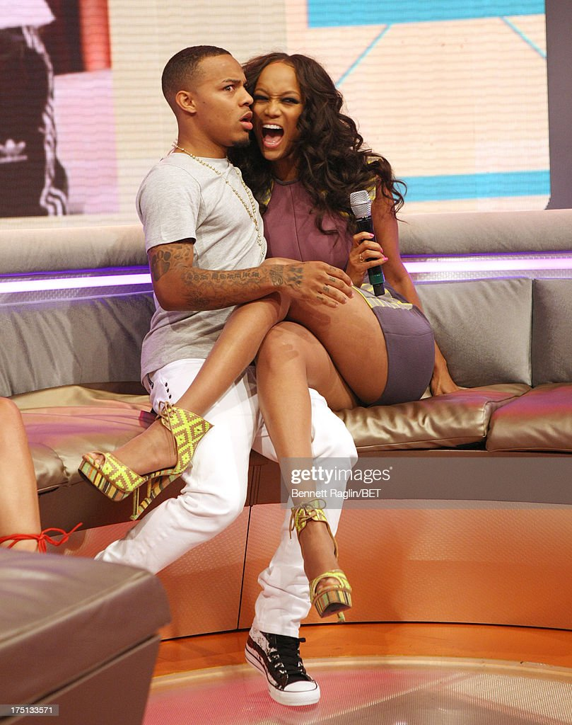 106 & Park host <a gi-track='captionPersonalityLinkClicked' href=/galleries/search?phrase=Bow+Wow&family=editorial&specificpeople=211211 ng-click='$event.stopPropagation()'>Bow Wow</a> and <a gi-track='captionPersonalityLinkClicked' href=/galleries/search?phrase=Tyra+Banks&family=editorial&specificpeople=202216 ng-click='$event.stopPropagation()'>Tyra Banks</a> attend BET's 106 & Park at BET Studios on July 31, 2013 in New York City.