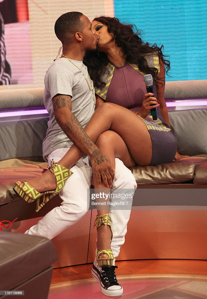 '106 & Park' host Bow Wow kisses Tyra Banks during BET's '106 & Park' at BET Studios on July 31, 2013 in New York City.