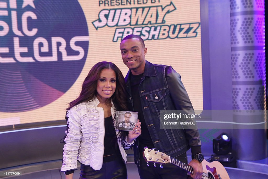 106 & Park host Keshia Chante and recording artist Jonathan McReynolds attend 106 & Park at BET studio on March 31, 2014 in New York City.