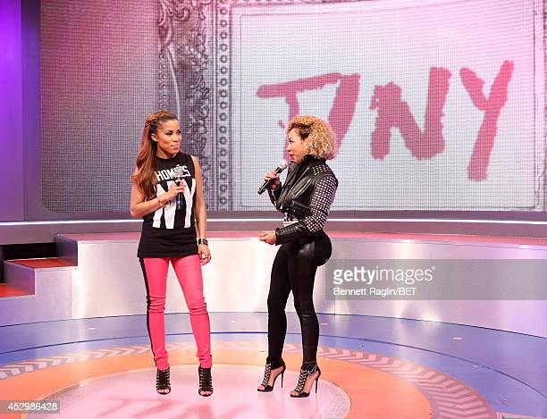 106 Park host Keshia Chante and recording artist Tameka 'Tiny' Harris attend 106 Park at BET studio on July 30 2014 in New York City