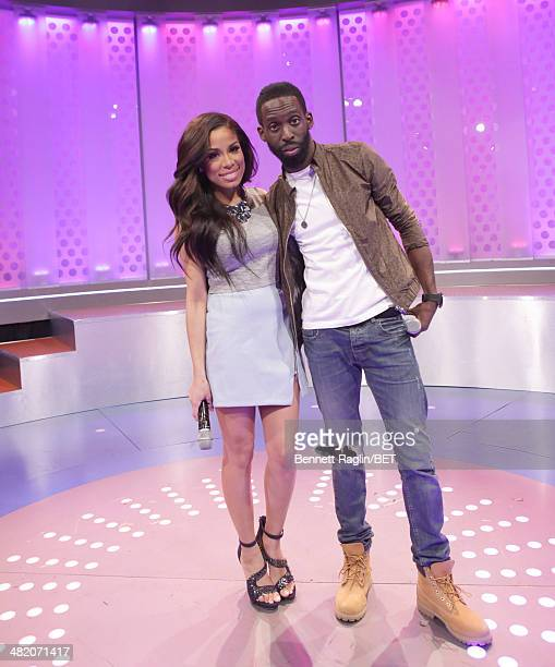106 Park host Keshia Chante and recording artist Tye Tribbett 106 Park at BET studio on April 1 2014 in New York City