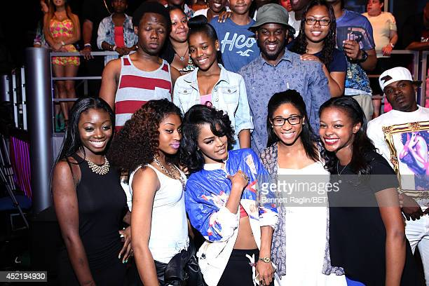 106 Park host Teyana Taylor pose for a picture with the 106 Park audience during 106 Park at BET studio on July 14 2014 in New York City