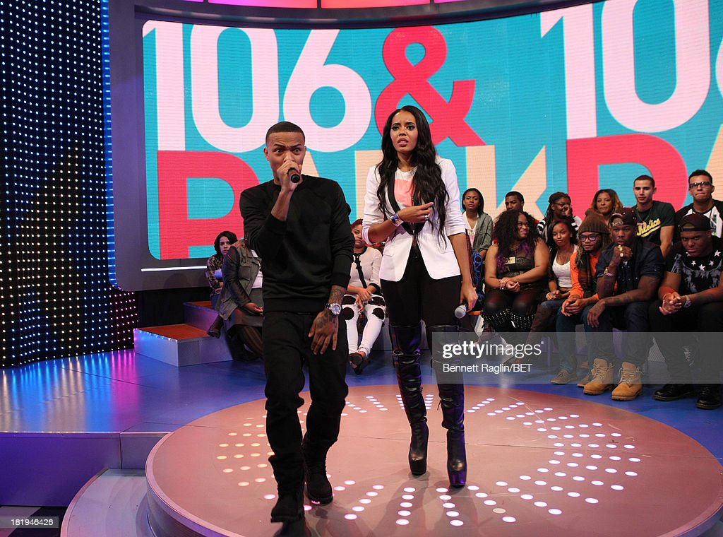 106 & Park hosts <a gi-track='captionPersonalityLinkClicked' href=/galleries/search?phrase=Bow+Wow+-+Rapper&family=editorial&specificpeople=211211 ng-click='$event.stopPropagation()'>Bow Wow</a> and <a gi-track='captionPersonalityLinkClicked' href=/galleries/search?phrase=Angela+Simmons&family=editorial&specificpeople=653461 ng-click='$event.stopPropagation()'>Angela Simmons</a> attend 106 & Park at 106 & Park on September 23, 2013 in New York City.