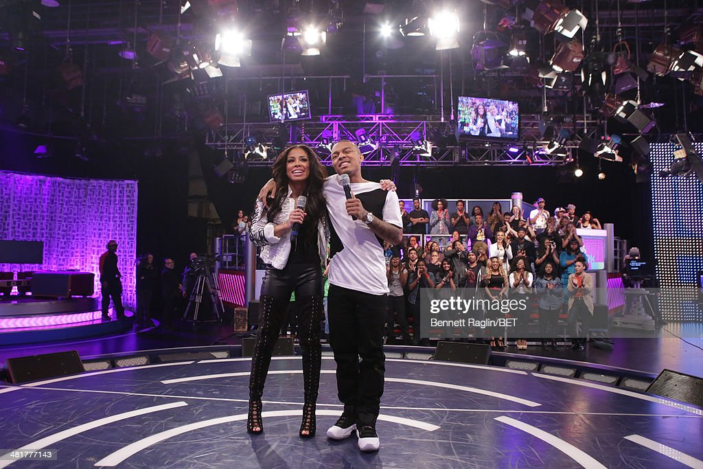 106 & Park hosts Keshia Chante and Bow Wow attend 106 & Park at BET studio on March 31, 2014 in New York City.