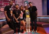 '106 Park' hosts Shorty Da Prince Bow Wow Paigion and Ms Mykie pose for a picture with recording artist Chris Brown during a taping of BET's '106...