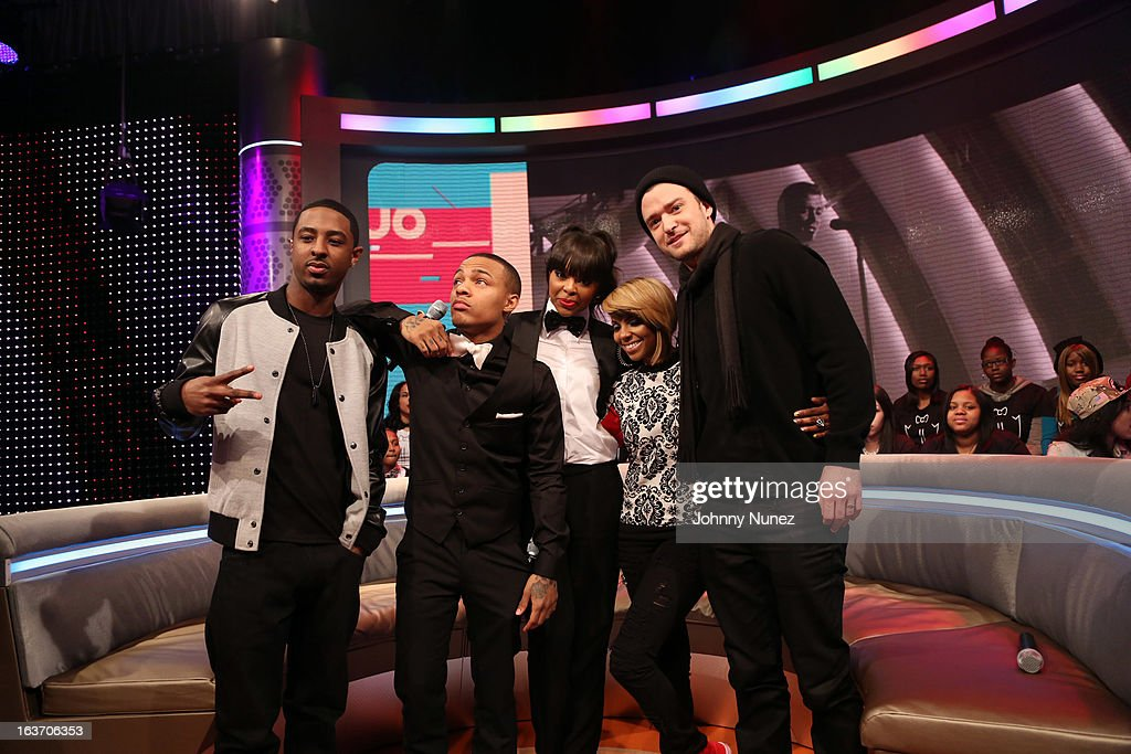 '106 & Park' hosts Shorty Da Prince, Bow Wow, Paigion, and Ms. Mykie welcome recording artist Justin Timberlake to BET's '106 & Park' at BET Studios on March 14, 2013 in New York City.