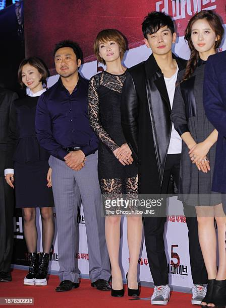 Park HyoJoo Ma DongSeok Kim SunA On JooWan and Lee ChungAh attend the 'The Five' VIP press screening at Wangsimni CGV on November 8 2013 in Seoul...