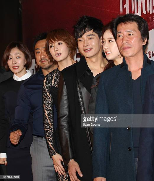 Park HyoJoo Ma DongSeok Kim SunA On JooWan Lee ChungAh and Shin JungKeun attend the 'The Five' VIP press screening at Wangsimni CGV on November 8...