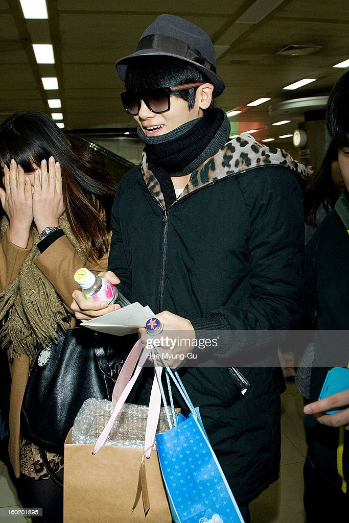 Park Hyung-Sik of South Korean boy band Children of Empire (ZE:A) is seen at Gimpo International Airport on January 27, 2013 in Seoul, South Korea.