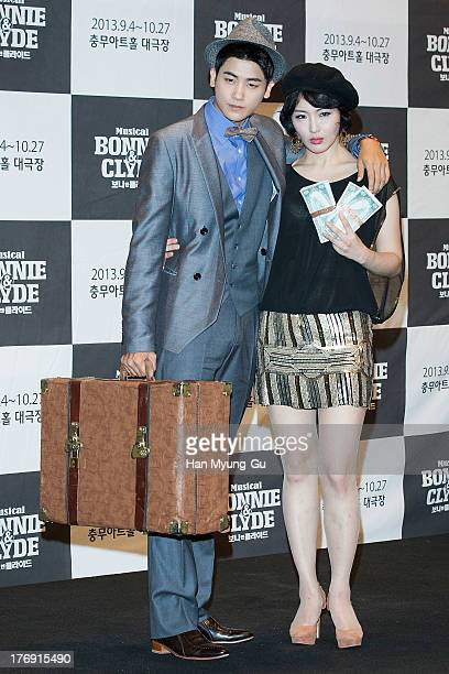 Park HyungSik of South Korean boy band ZEA and actress Ahn YooJin attend the press conference for musical 'Bonnie and Clyde' at MCube in Seoul on...