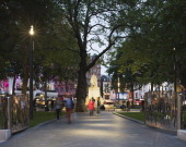 Park in centre of Square by night Leicester Square Square Plaza Europe United Kingdom Burns Nice