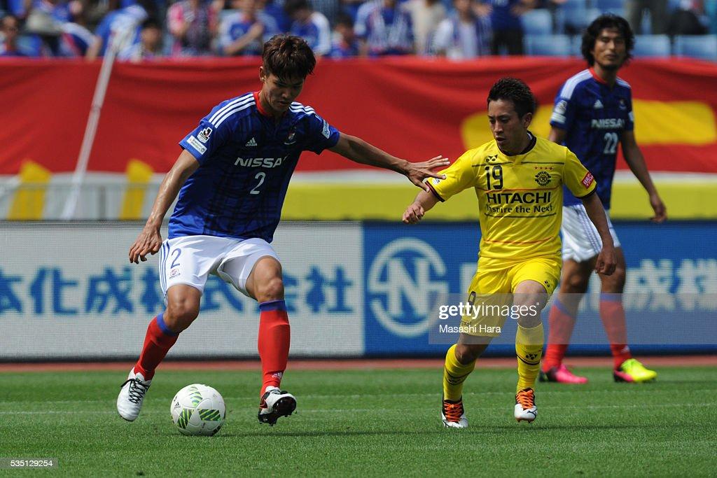 Park Jeongsu #2 of Yokohama F.Marinos in action during the J.League match between Yokohama F.Marinos and Kashiwa Reysol at the Nissan Stadium on May 29, 2016 in Yokohama, Kanagawa, Japan.
