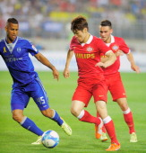 Park JiSung of Eindhoven during the friendly match between PSV Eindhoven and Suwon Samsung Bluewings at Suwon WorldCup Stadium on May 22 2014 in...