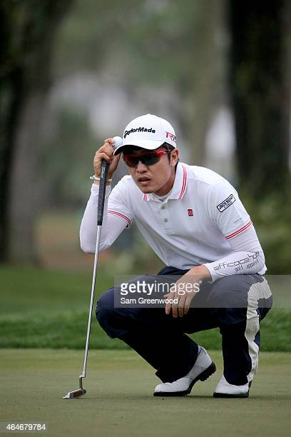 J Park lines up his putt on the 10th green during the second round of The Honda Classic at PGA National Resort Spa Champion Course on February 27...