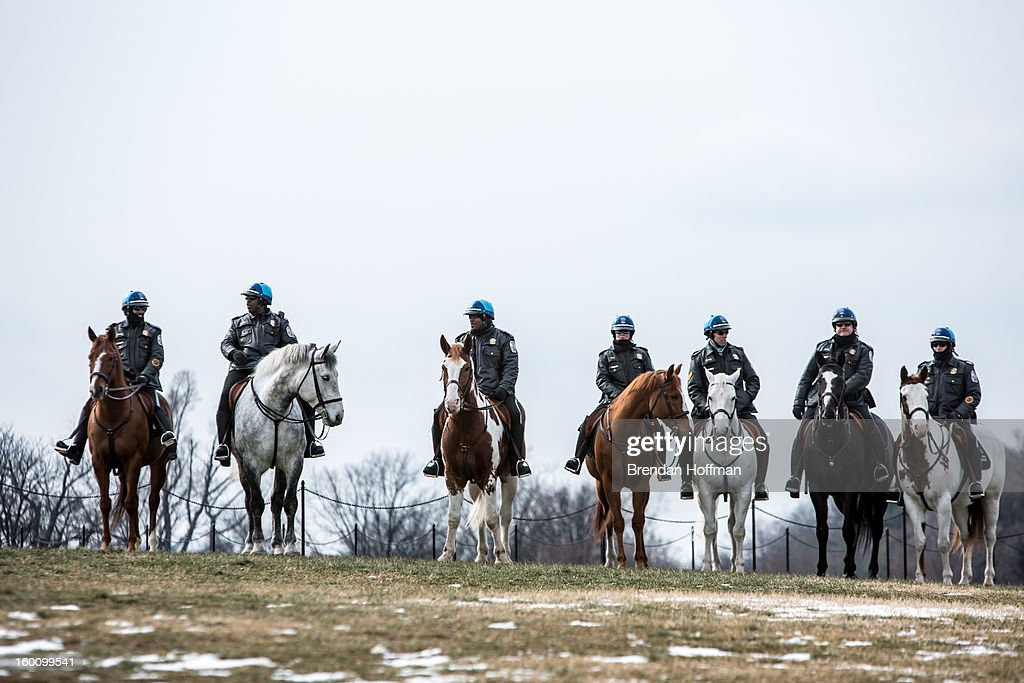 Park Police officers on horseback keep watch over a rally on the National Mall for stricter gun control laws on January 26, 2013 in Washington, DC. Demonstrators included survivors of the shooting at Virginia Tech, Newtown, Connecticut, and others.