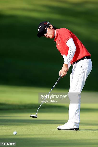 J Park putts on the 17th green during round two of the RBC Canadian Open on July 24 2015 at Glen Abbey Golf Club in Oakville Canada