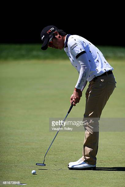 J Park putts on the third green during round one of the RBC Canadian Open on July 23 2015 at Glen Abbey Golf Club in Oakville Canada