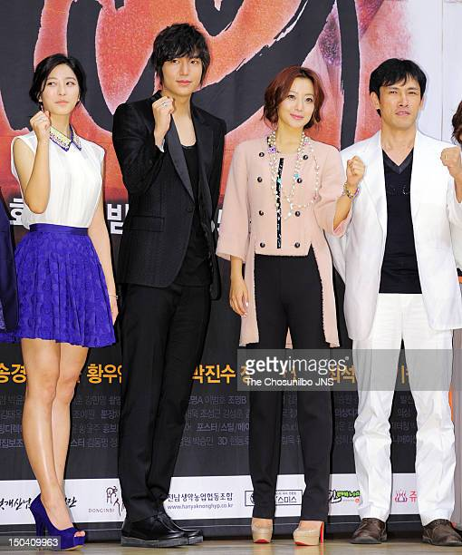 Park SaeYoung Lee MinHo Kim HeeSeon and Yoo OhSung attend SBS Drama 'The Faith' Press Conference at SBS Building on August 9 2012 in Seoul South Korea