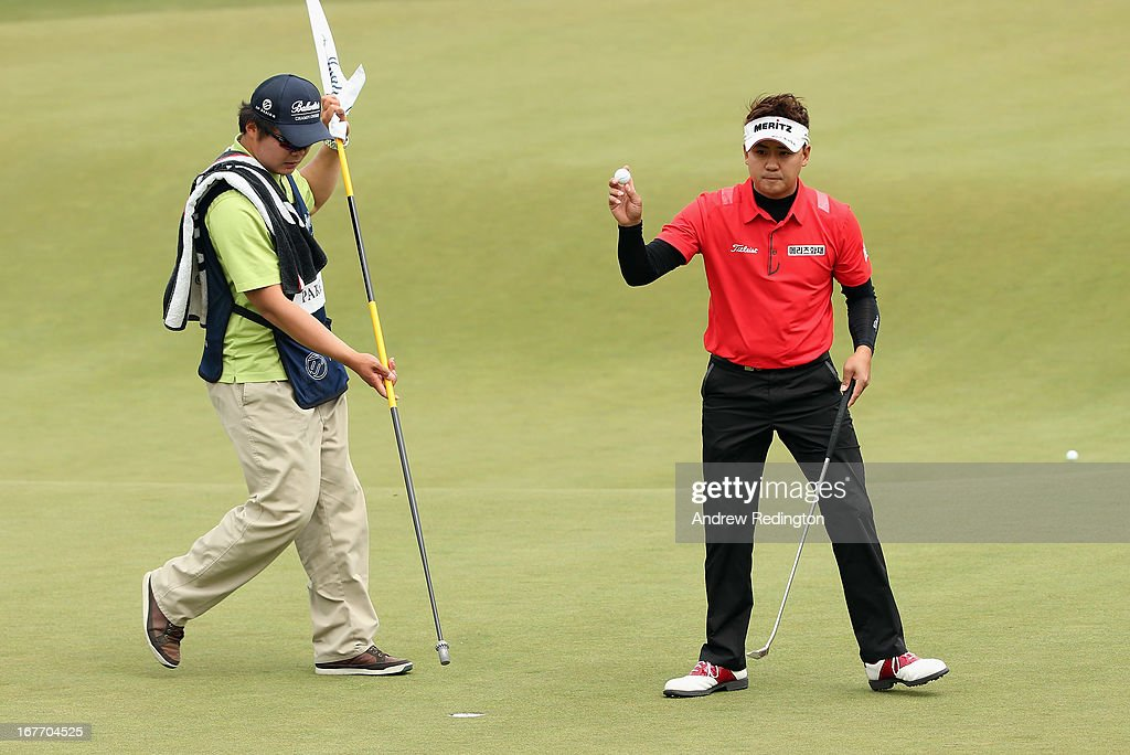 Park Sang-hyun of Korea in action during the final round of the Ballantine's Championship at Blackstone Golf Club on April 28, 2013 in Icheon, South Korea.