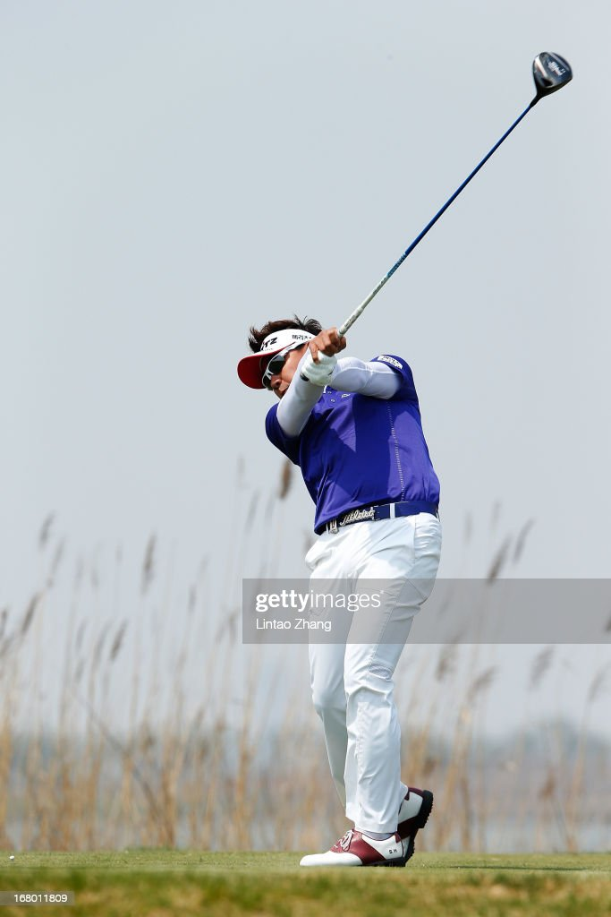 Park Sang-hyun of South Korea plays a shot during the third day of the Volvo China Open at Binhai Lake Golf Course on May 4, 2013 in Tianjin, China.