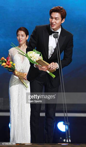 Park ShinHye and Lee MinHo attend the 51st Baeksang Arts Awards at Grand Peace Palace in Kyung Hee University on May 26 2015 in Seoul South Korea