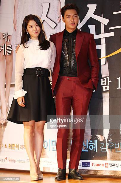Park ShinHye and Lee MinHo attend the SBS Drama 'The Heirs' press conference at Patio9 on October 7 2013 in Seoul South Korea