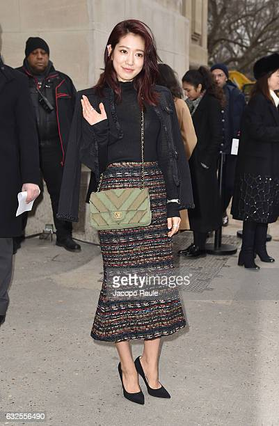 Park ShinHye arrives at the Chanel Fashion Show during Paris Fashion Week Haute Couture F/W 20172018 on January 24 2017 in Paris France